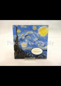 H.C.198-7310 Üvegtál Van Gogh: Csillagos éj, 0,5x13x13 cm
