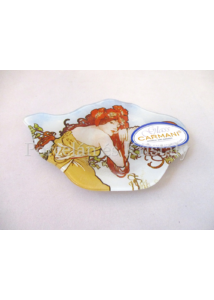 H.C.198-9202 Üveg teafiltertartó Mucha: Nyár, 1,5x10x14,5 cm
