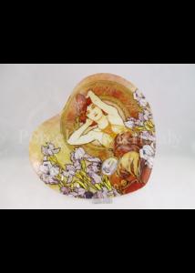H.C.198-2700 Szív üvegtál Klimt: Ametiszt, 2x23x25 cm