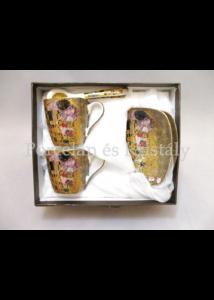 P.P.W3A06-24573 Porcelán mini-mokka szett 2 személyes, 6 részes, Klimt: Csók