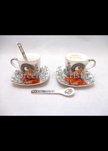 P.P.W3S06-35630 Porcelán mini-mokka szett 2 személyes, 6 részes, Mucha: Topáz