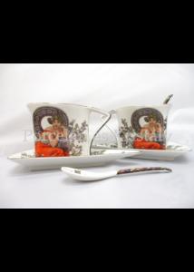 P.P.W3S34-12433 Porcelán Nonfiguratív mini-tea szett 2 személyes, 6 részes, Mucha: Topáz