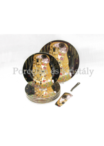 P.P.W4B27-16513 Porcelán süteményeskészlet lapáttal 6 személyes, 8 részes, Klimt: Csók