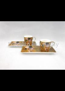 P.P.W6A63-11529 Porcelán oldaltálcás mini-mokka szett 2 személyes, 4 részes, Klimt: Csók