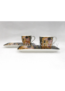 P.P.W6B63-11628 Porcelán oldaltálcás mini-mokka szett 2 személyes, 4 részes, Klimt: Csók