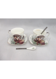 P.P.W6S160-17033 Porcelán mini-tea szett 2 személyes, 6 részes, Mucha: Smaragd