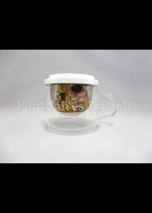 P.P.W7A73-00162 Üvegpohár porcelánszűrővel és tetővel 350ml, Klimt: Csók