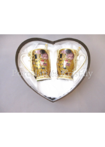 P.P.W9KL410-09176 Porcelán talpas bögre szett 2 személyes, 4 részes, Klimt: Csók