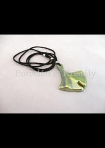 10594 Ginkgo medál zöld eosin, 5,5x4,6 cm