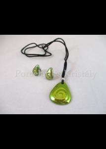 10658 Háromszög csigás ékszer szett 2 részes, zöld eosin