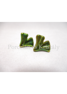 10786 Ginkgo fülbevaló zöld eosin, 1,5x2 cm