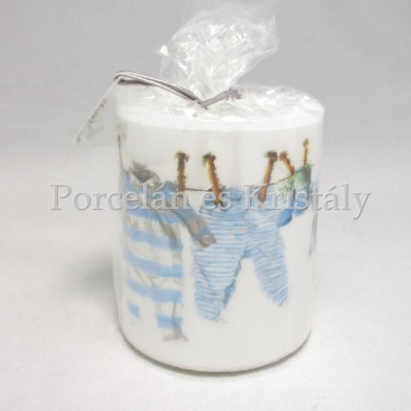 AMB.19213985 Kék kisfiú ruhák átvilágítós gyertya 9x7,5 cm