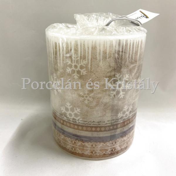 AMB.39112245 X-Mas Fabric karácsonyi átvilágítós gyertya 12x10cm