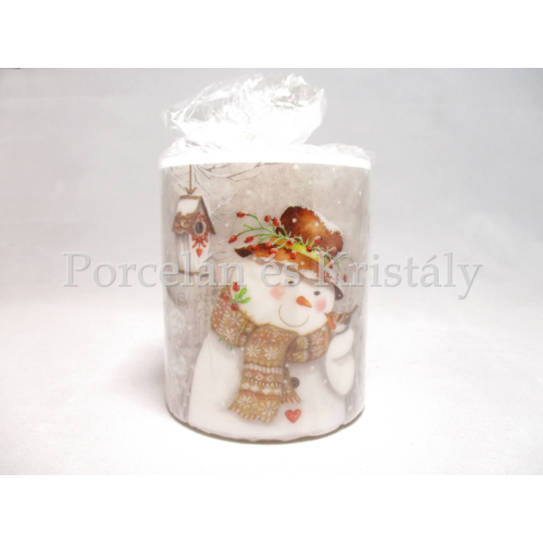 AMB.39211940 Hóember vörösbeggyel karácsonyi átvilágítós gyertya 9x7,5cm