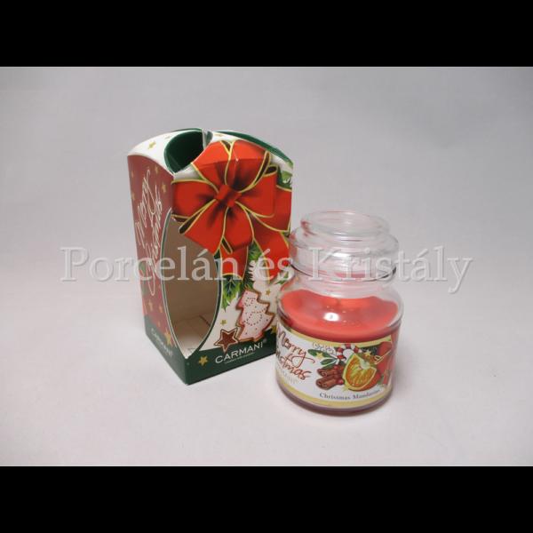 H.C.457-9903 Mandarin illatgyertya üvegben, karácsonyi, 10x6,5cm