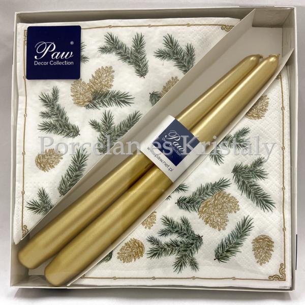 P.W.SSC116500 Twings And Cones karácsonyi díszdoboz 20 db szalvétával, 2 db gyertyával
