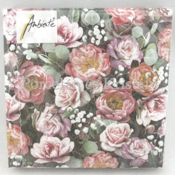 AMB.12513900 Vintage virágok papírszalvéta 25x25 cm, 20 db-os