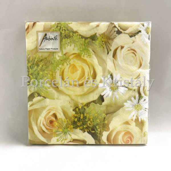 AMB.13305555 Wedding Roses papírszalvéta 33x33cm, 20db-os