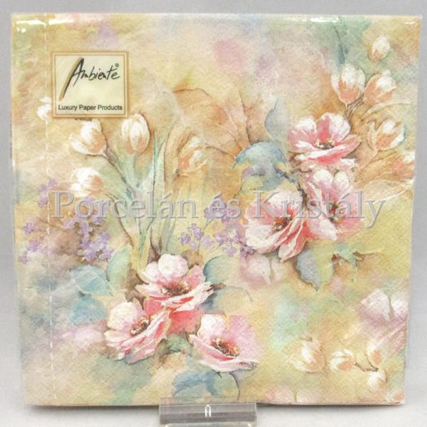AMB.13307660 Virágos romantika papírszalvéta 33x33 cm, 20 db-os