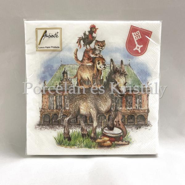 AMB.13308860 Bremer Stadtmusikanten papírszalvéta 33x33cm, 20db-os