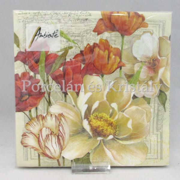 AMB.13311255 Korall színű virágok papírszalvéta 33x33 cm, 20 db-os
