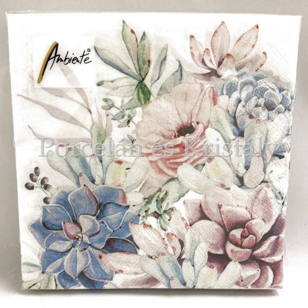 AMB.13313285 Succulent Love Papírszalvéta 33x33cm, 20db-os