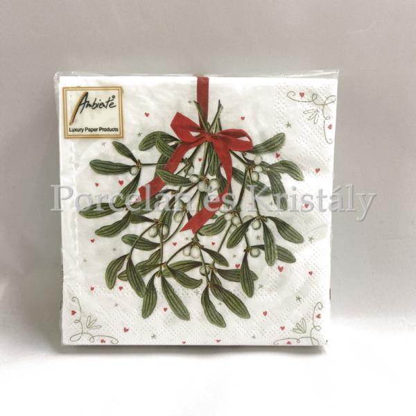 AMB.33310575 Mistletoe karácsonyi papírszalvéta 33x33cm, 20db-os