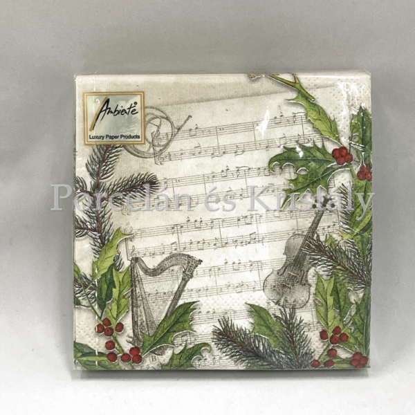 AMB.32510860 Christmas Song karácsonyi papírszalvéta 25x25cm, 20db-os