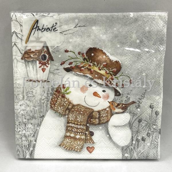 AMB.33311940 Snowman Holding Robin karácsonyi papírszalvéta 33x33cm, 20db-os