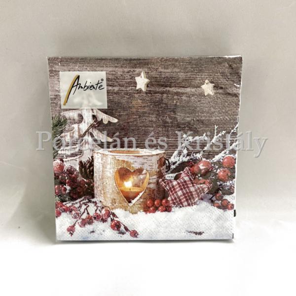 AMB.33311950 Birch Candlelight karácsonyi papírszalvéta 33x33cm, 20db-os