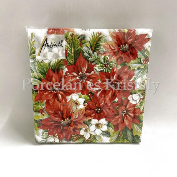 AMB.32513570 Poinsettia All Over karácsonyi papírszalvéta 25x25 cm, 20 db-os