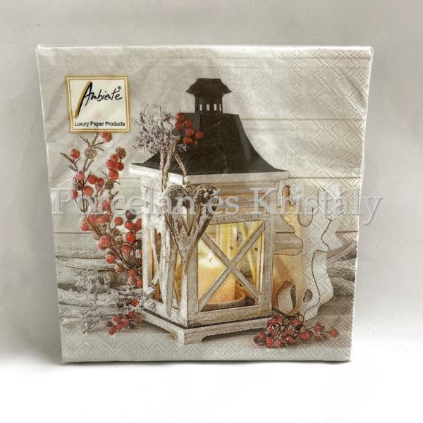 AMB.33304620 Lantern karácsonyi papírszalvéta 33x33cm, 20db-os