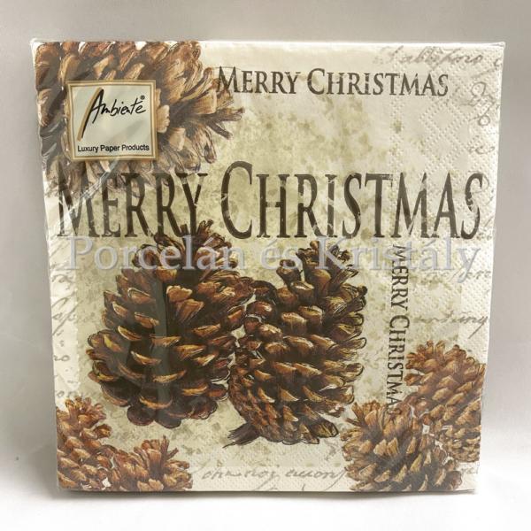 AMB.33305020 Cones karácsonyi papírszalvéta 33x33cm, 20db-os