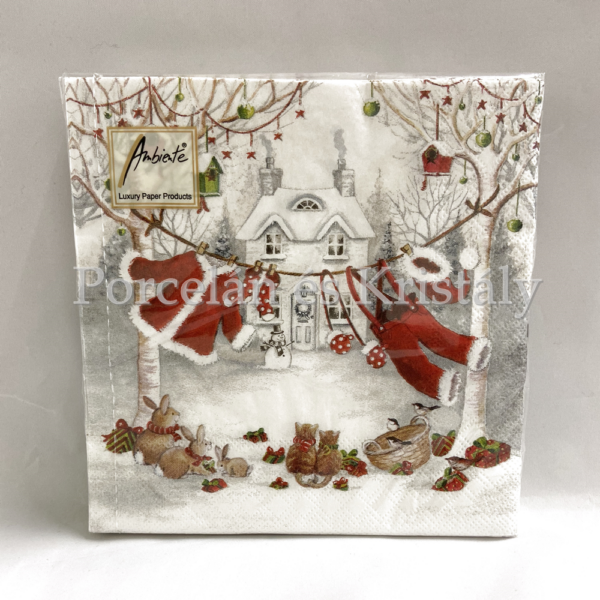 AMB.33310655 Clothes Line karácsonyi papírszalvéta 33x33cm, 20db-os