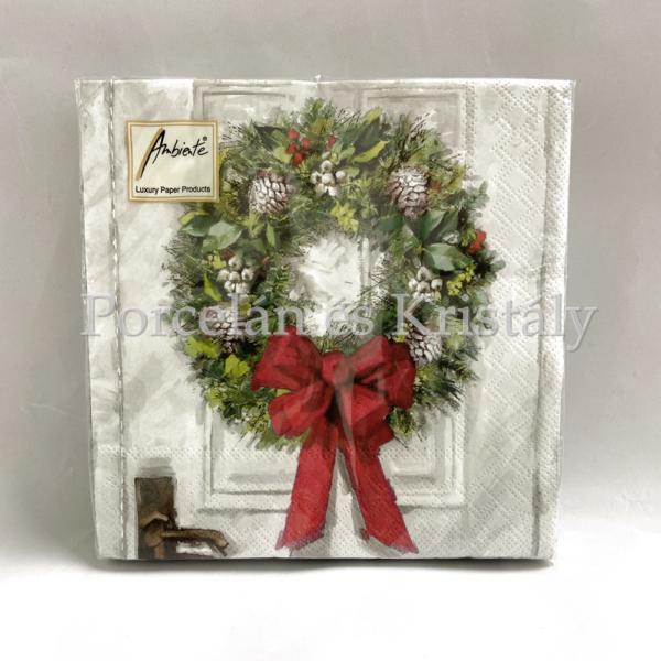 AMB.33310680 White Wreath karácsonyi papírszalvéta 33x33cm, 20db-os