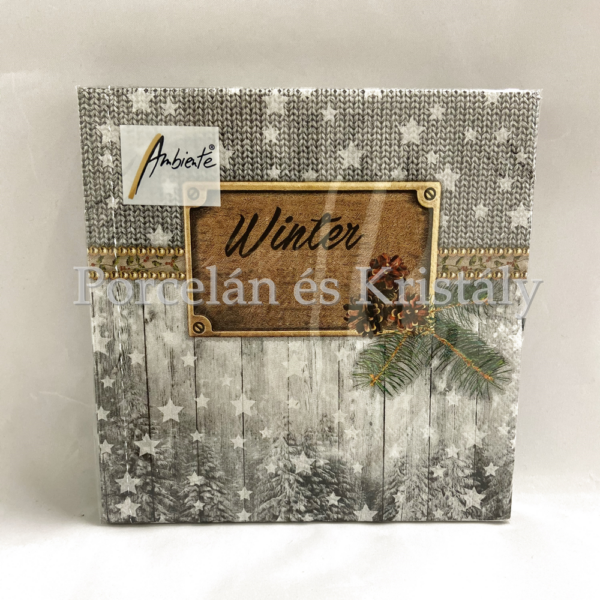 AMB.33312105 Winter karácsonyi papírszalvéta 33x33cm, 20db-os