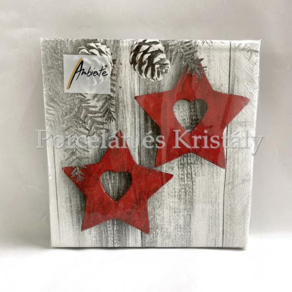 AMB.33312135 Hanging Stars karácsonyi papírszalvéta 33x33cm, 20db-os