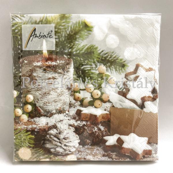 AMB.33312160 Birchwooden Candle karácsonyi papírszalvéta 33x33cm, 20 db-os