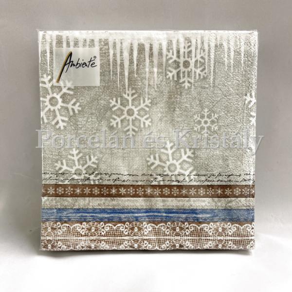 AMB.33312245 X-Mas Fabric karácsonyi papírszalvéta 33x33cm, 20db-os