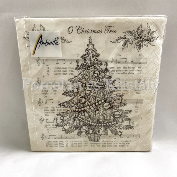 AMB.33312265 O Christmas Tree Black karácsonyi papírszalvéta 33x33cm, 20db-os