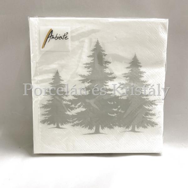 AMB.33312305 Tree Silhouette Silver karácsonyi papírszalvéta 33x33cm, 20db-os