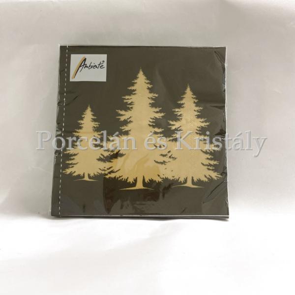 AMB.33312309 Tree Silhouette Black/Gold karácsonyi papírszalvéta 33x33cm, 20db-os