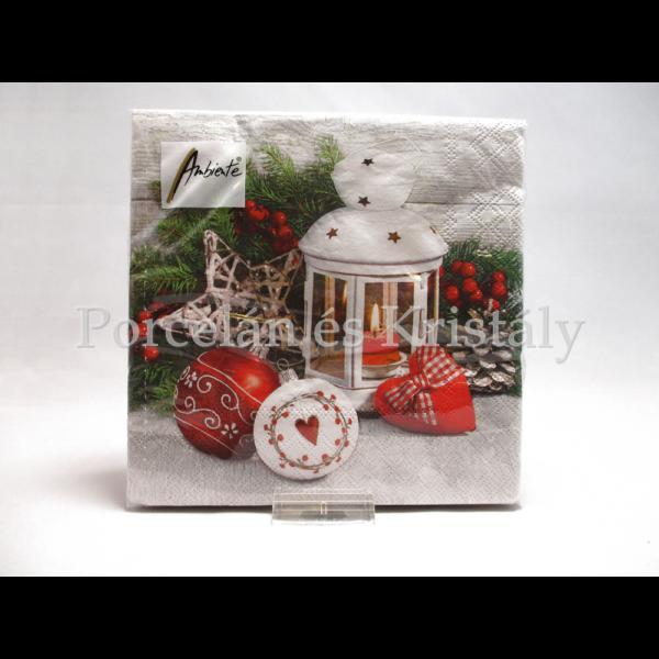 AMB.33313420 Fehér lámpa karácsonyi papírszalvéta 33x33cm, 20 db-os