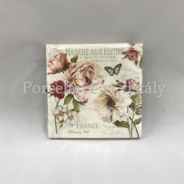 R2S.414FLEU Marche Aux Fleurs papírszalvéta 33x33cm, 20db-os