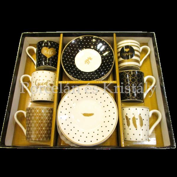 R2S.126CMGM Jó reggelt porcelán mokkacsésze szett 6 személyes, 12 részes, díszdobozban