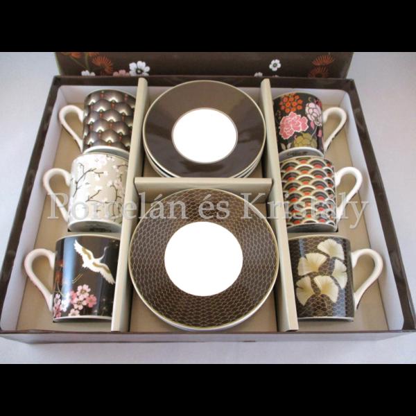 R2S.126ORTL Orientál porcelán mokkacsésze szett 6 személyes, 12 részes, díszdobozban