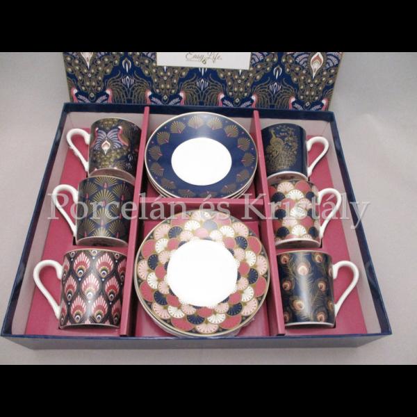 R2S.126PECK Pávás porcelán mokkacsésze szett 6 személyes, 12 részes, díszdobozban