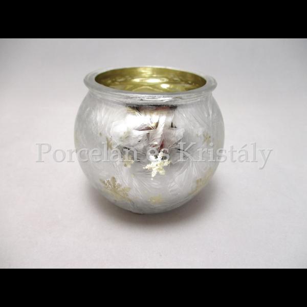 D.P.KC0045 Üveg mécsestartó csillagos,hópelyhes,arany belsővel, 7cm