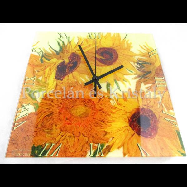 D.I.19-03 Üveg falióra Van Gogh: Napraforgók, 30x30x2 cm