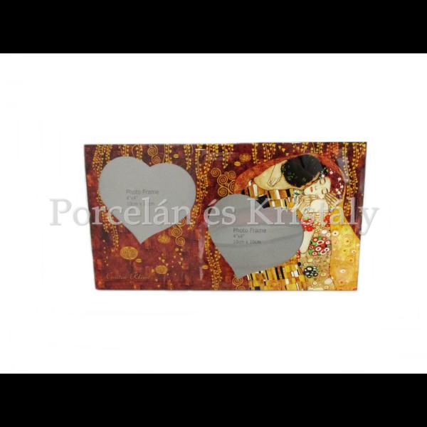 H.C.044-5041 Üveg duplaképes képkeret Klimt: Csók, 15x27x0,5 cm